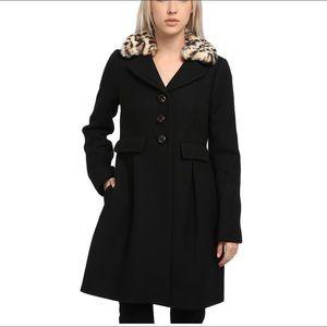 New Kate Spade Black Faux-Fur Collar Coat - 14
